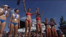 Sarah Pavan and Melissa Humana-Paredes, freshly named Canada's first beach volleyball world champions, won first place at the Edmonton tournament on Sunday.