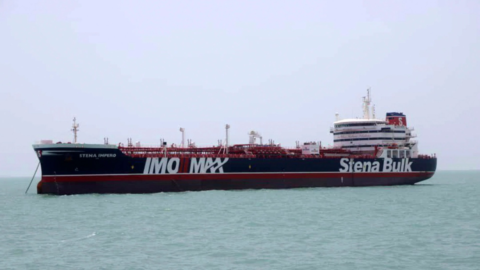 A British-flagged oil tanker Stena Impero which was seized by the Iran's Revolutionary Guard on Friday is photographed in the Iranian port of Bandar Abbas, Saturday, July 20, 2019. The chairman of Britain's House of Commons Foreign Affairs Committee says military action to free the oil tanker seized by Iran would not be a good choice. (Tasnim News Agency/via AP)