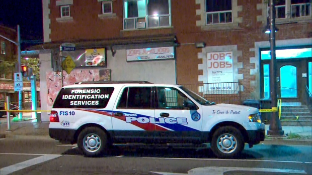 The scene of a stabbing in Parkdale on July 21, 2019 is seen. (CTV News Toronto)