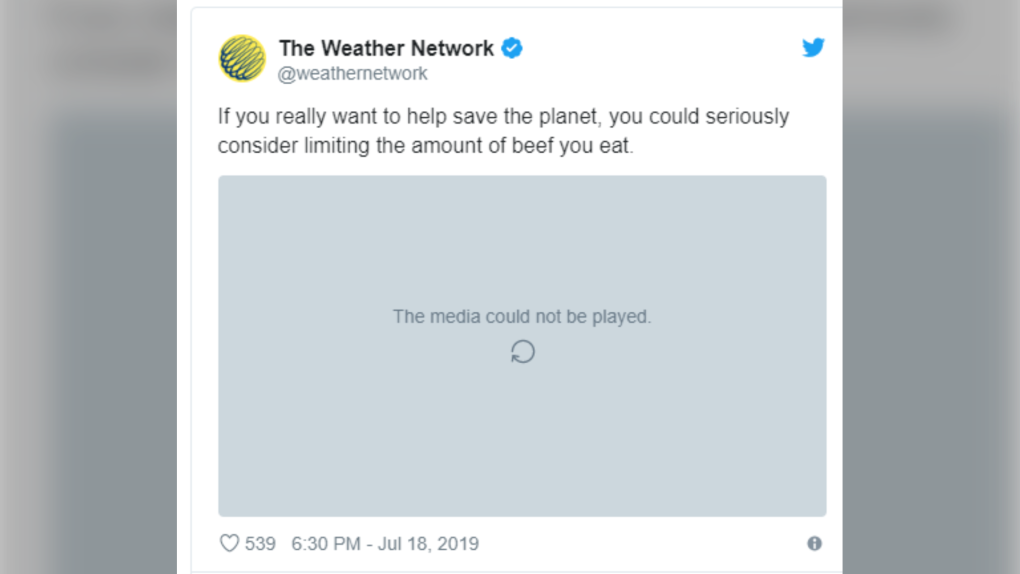 Weather Network tweet
