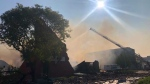 Winnipeg Fire Paramedic Service battled a huge multi-business warehouse fire on Jarvis Avenue Monday morning, which destroyed the building. Residents of eight buildings were evacuated. Photo by Alex Brown/CTV News.