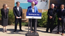 Premier John Horgan, Health Minister Adrian Dix and the BC Cancer Foundation announced a new state-of-the-art PET/CT scanner suite at the BC Cancer Centre in Victoria on July 22, 2019. (CTV Vancouver Island)