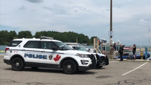Windsor police on scene at Lakeview Marina in Windsor, Ont., on Monday, July 22,2019. (Michelle Maluske / CTV Windsor)