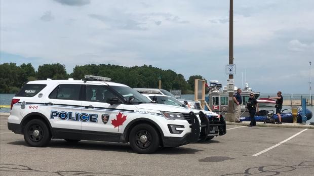 Windsor police on scene at Lakeview Marina in Windsor, Ont., on Monday, July 22,2019. (Michelle Maluske / CTV Windsor)