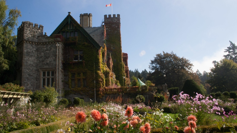 Looking out over the Olympic mountains, the 10-acre heritage gardens can be found between the century-old Hatley Castle and the Esquimalt Lagoon. (Royal Roads University)