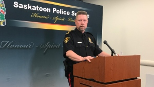 Saskatoon Police Chief Troy Cooper speaks to media July 22, 2019. (File photo)