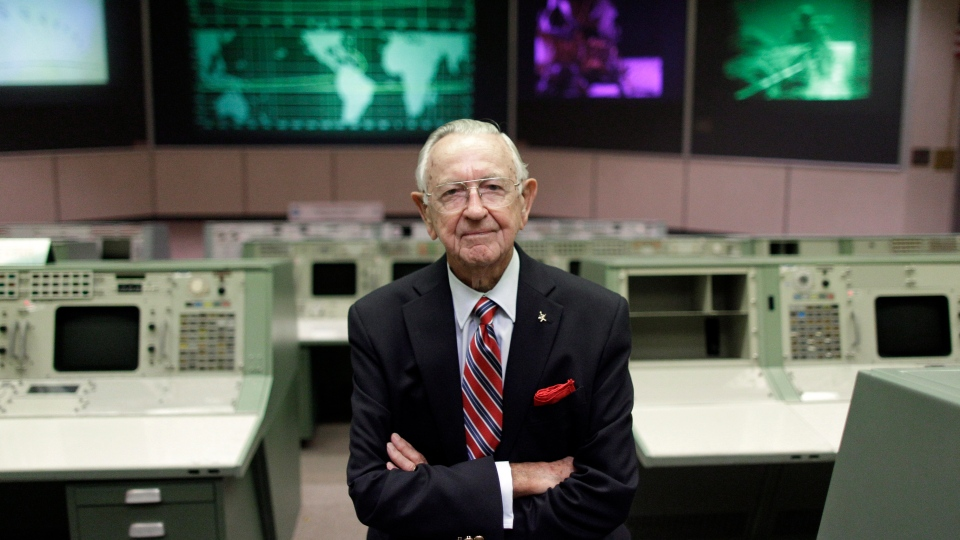 FILE - This Tuesday, July 5, 2011, file photo shows NASA Mission Control founder Chris Kraft in the old Mission Control at Johnson Space Center in Houston. (AP Photo/David J. Phillip, File)