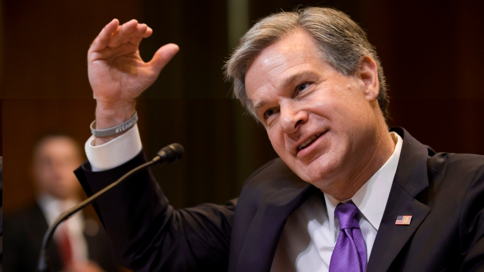 In this May 7, 2019, file photo, FBI Director Christopher Wray testifies during a hearing on Capitol Hill in Washington. Wray is set to appear before a Senate committee examining oversight of the bureau. The July 23 hearing could be something of a preview of the intense questioning special counsel Robert Mueller is likely to face when he appears before Congress the next day. (AP Photo/Alex Brandon, File)