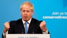 Boris Johnson speaks after being announced as the new leader of the Conservative Party in London, Tuesday, July 23, 2019. Brexit champion Boris Johnson won the contest to lead Britain's governing Conservative Party on Tuesday, and will become the country's next prime minister. (AP Photo/Frank Augstein)