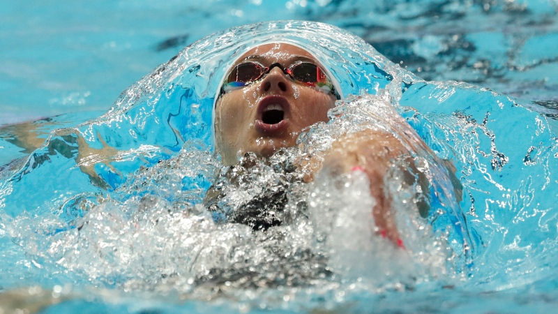 Canada's Kylie Masse swims in her heat of the women's 100m backstroke at the World Swimming Championships in Gwangju, South Korea, Monday, July 22, 2019. (AP Photo/Lee Jin-man)