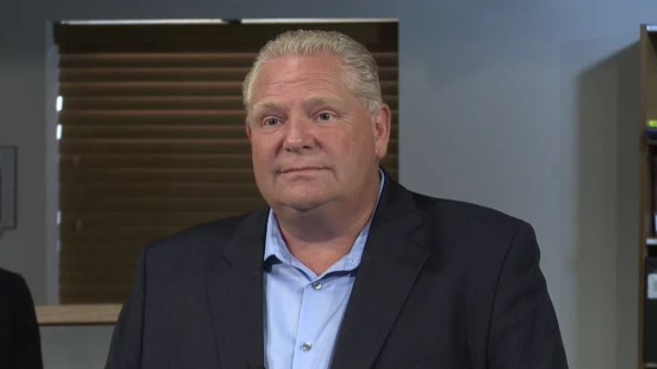 Ontario Premier Doug Ford makes an infrastructure announcement in Lucan, Ont. on Tuesday, July 23, 2019. (Jim Knight / CTV London)