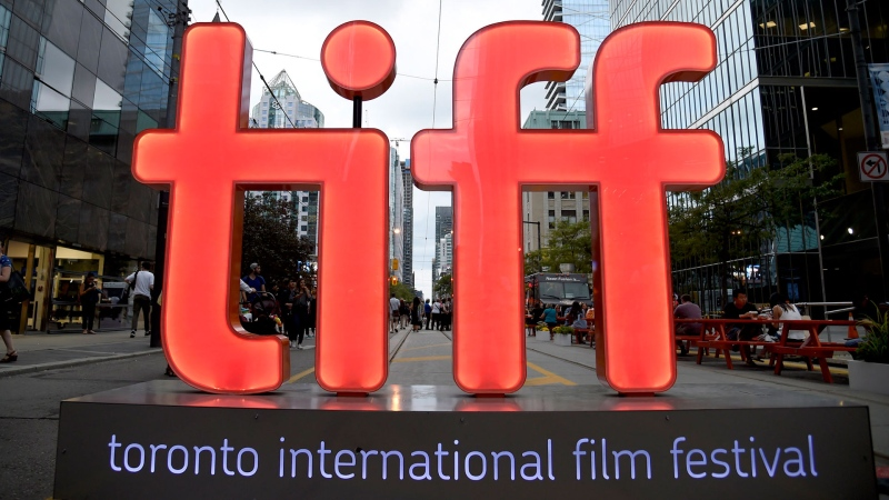 In this Thursday, Sept. 6, 2018, file photo, a view of a festival sign appears on Day 1 of the Toronto International Film Festival in Toronto. (Photo by Chris Pizzello/Invision/AP, File)