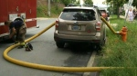 Firefighters smash car windows to access hydrant