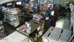 Police allege at 2:30 a.m. two men entered a store by prying open the door. Once inside, they stole a garbage bin and left.