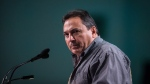 Assembly of First Nations National Chief Perry Bellegarde pauses while speaking during the AFN annual general assembly, in Vancouver on Thursday, July 26, 2018. THE CANADIAN PRESS/Darryl Dyck