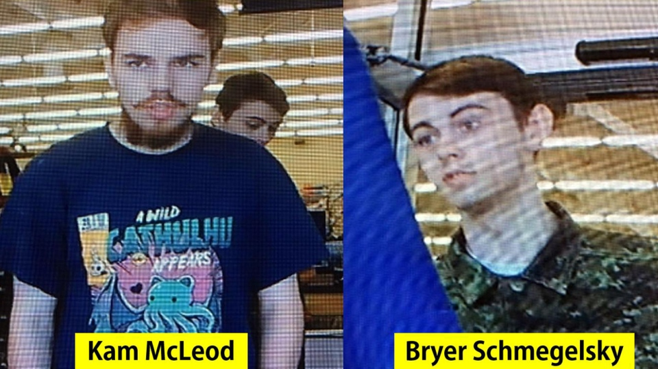 Port Alberni teens Kam McLeod and Bryer Schmegelsky are shown in surveillance photos. (BC RCMP Handout)