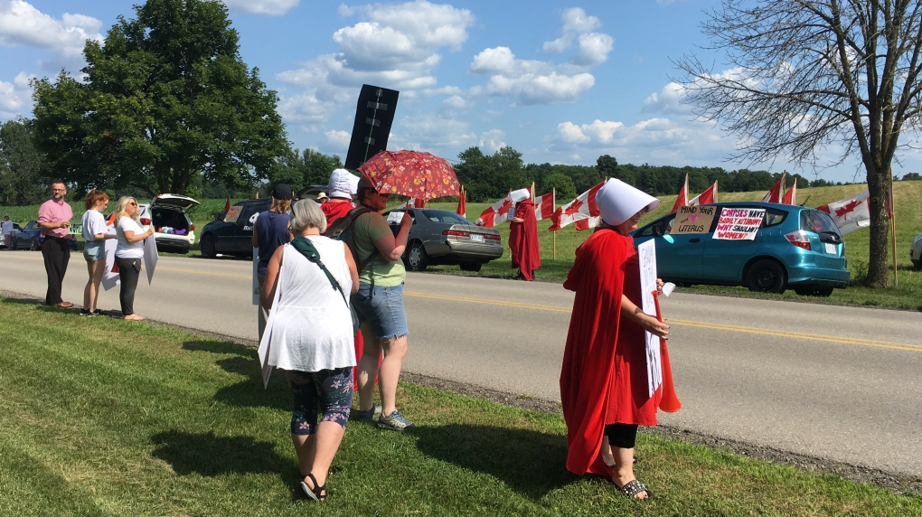 Protestors gather at Kitchener MP's event over anti-abortion bill support