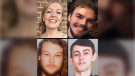 A composite image shows Lucas Fowler, Chynna Deese, Kam McLeod and Bryer Schmegelsky.