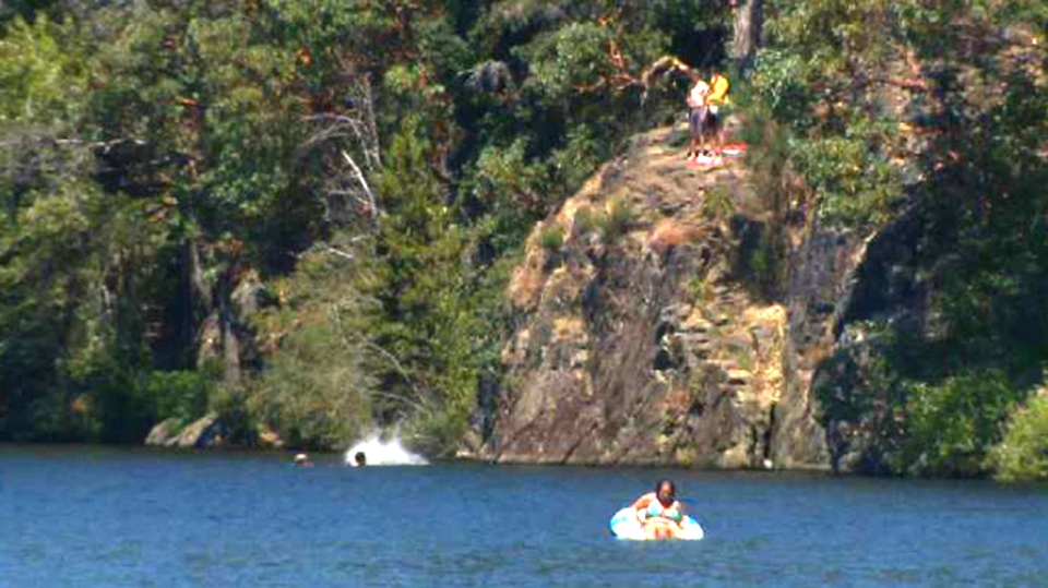 A cliff-jumping spot at Thetis Lake Regional Park in View Royal is shown in this file photo.