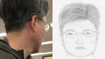 A suspect photo and sketch provided by the Burnaby RCMP are seen following an alleged voyeurism incident at a local Walmart store.
