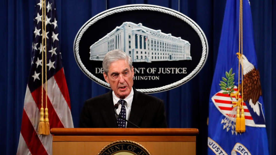 In this May 29, 2019, file photo, special counsel Robert Mueller speaks at the Department of Justice in Washington, about the Russia investigation. (AP Photo/Carolyn Kaster, File)