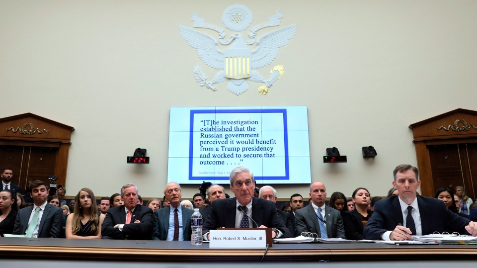 Former special counsel Robert Mueller testifies before the House Judiciary Committee hearing on his report on Russian election interference, on Capitol Hill, Wednesday, July 24, 2019 in Washington. (Jonathan Ernst/Pool via AP)