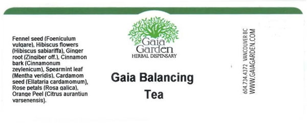 The label of a recalled product called Gaia Balancing Tea is shown in an image provided by CFIA.