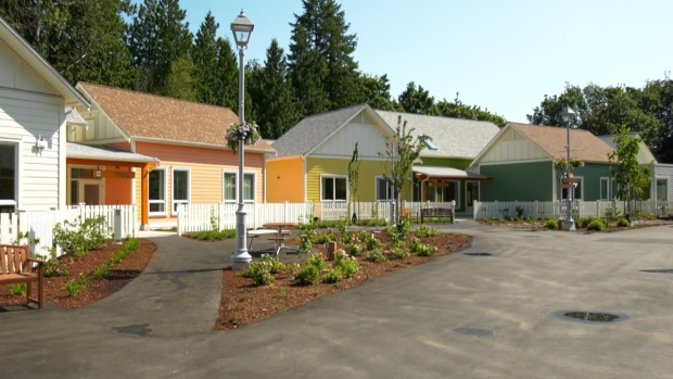 Homes in a 'dementia village' in Langley are shown.