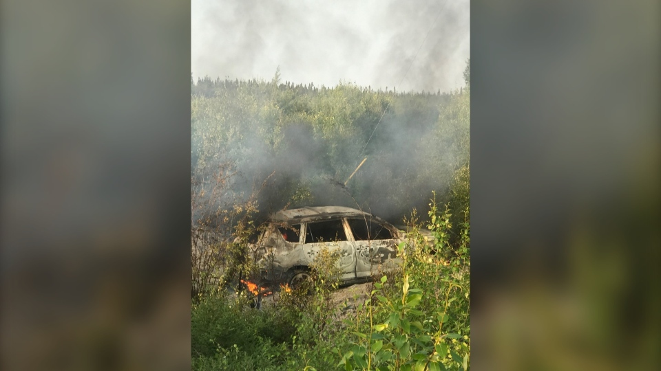 A burned out vehicle was found near the reserve of Bird, northeast of Gillam that police now say was the same the suspects were travelling in. (Source: Billy Beardy)