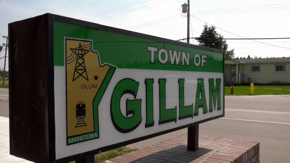 The town sign for Gillam, Man. is seen in this image.