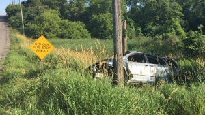 A vehicle rests mangled against a pole off of Shaws Creek Road in Caledon on Wed., July 24, 2019. (Caledon OPP)