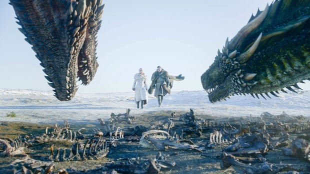 Emilia Clarke, left, and Kit Harington in a scene from the final episode of 'Game of Thrones.' (HBO via AP)
