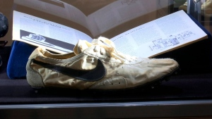 This image taken from video shows the Nike handmade Moon Shoe, designed by Nike co-founder Bill Bowerman in 1972, on display in New York on Friday, July 12, 2019. (AP Photo/Ted Shaffrey)
