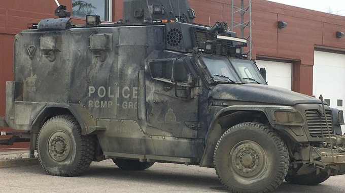 Gillam Mayor Dwayne Forman said the police presence had grown Thursday, when the armoured Tactical Assault Vehicle, or TAV, was spotted in Gillam. (Jeff Keele/CTV News)