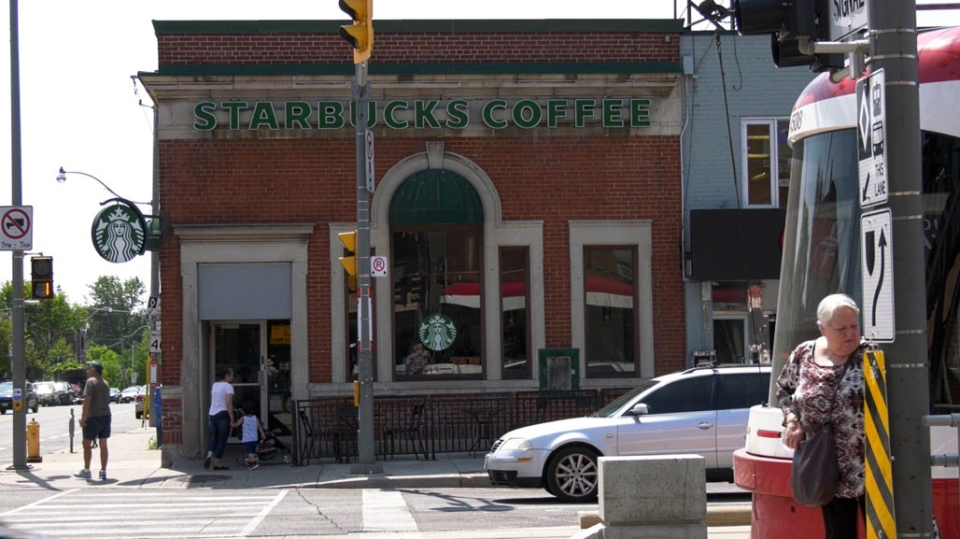 A Starbucks is seen at the corner of St. Clair Avenue and Christie Street. (Natalie Johnson/CTV News Toronto)