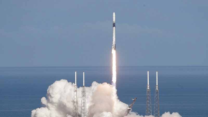 A Falcon 9 SpaceX rocket on a resupply mission to the International Space Station lifts off from pad 40 at the Cape Canaveral Air Force Station in Cape Canaveral, Fla., Thursday, July 25, 2019. (AP Photo/John Raoux)