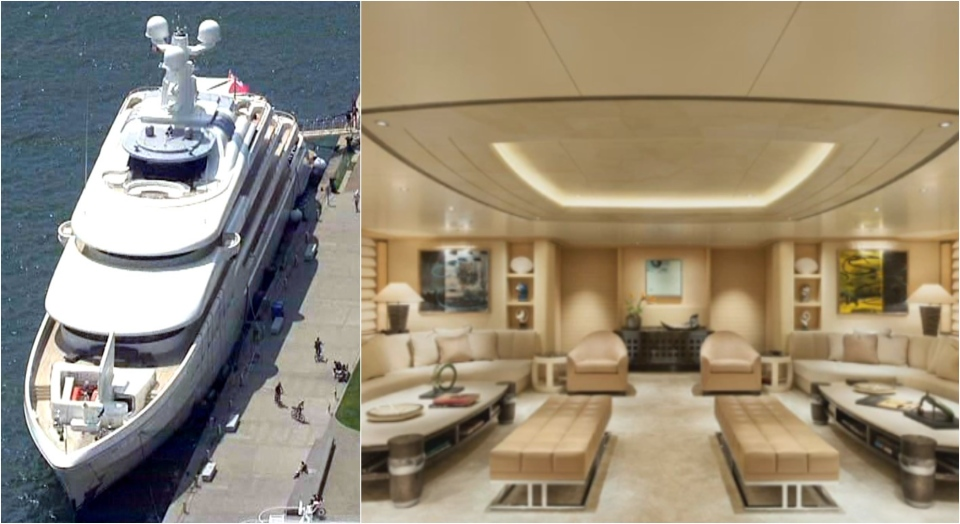 Exterior and interior views of superyacht Grace, docked at Toronto harbour.
