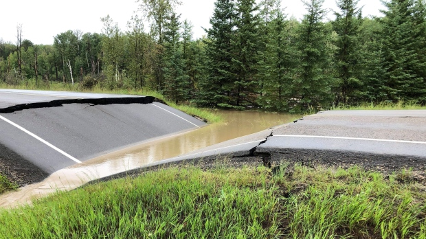 Hundreds of campers stranded in northern Alta. by washed out highway