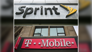This combination of April 30, 2018, file photos shows signage for a Sprint store in New York's Herald Square, top, and signage at a T-Mobile store in New York U.S. regulators are approving T-Mobile's $26.5 billion takeover of rival Sprint, despite fears of higher prices and job cuts. (AP Photo/Bebeto Matthews, File)