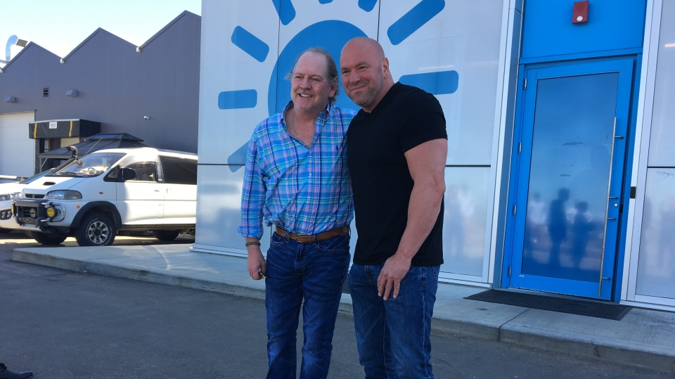 UFC President Dana White with Terry Booth, CEO Aurora Cannabis.