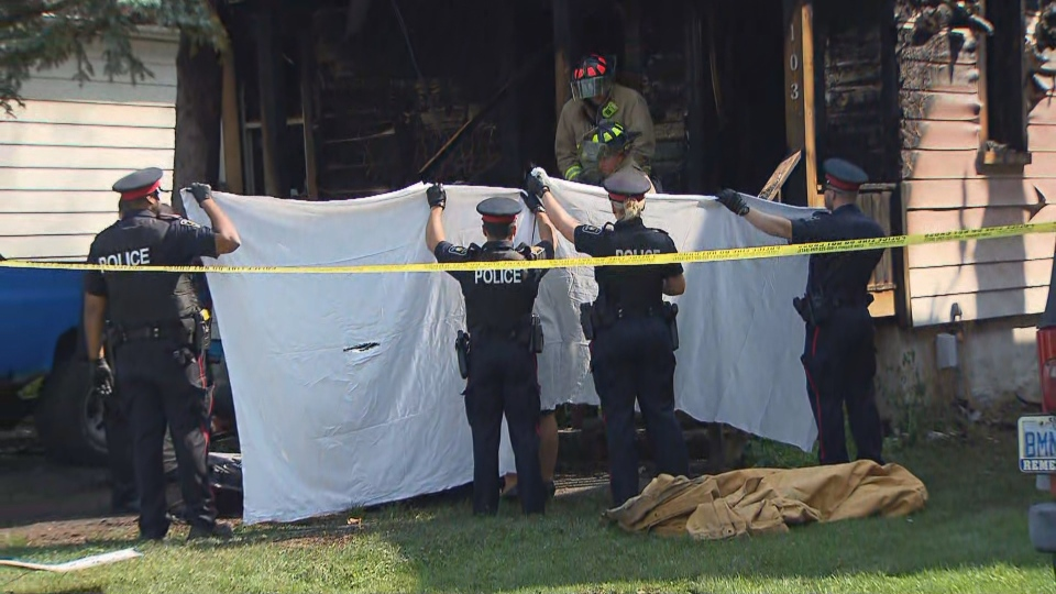 York police investigate after a fatal fire in Aurora. (CTV News Toronto)