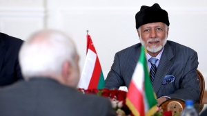 Omani Foreign Minister Yousuf bin Alawi attends a meeting with Iranian Foreign Minister Mohammad Javad Zarif in Tehran, Iran, Saturday, July 27, 2019. (AP Photo/Ebrahim Noroozi)