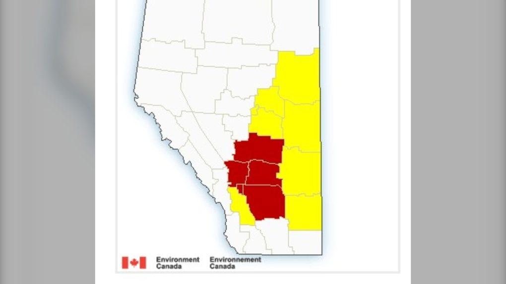 Severe thunderstorm warnings and watches issued across southern Alberta