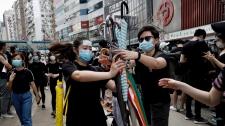 Hong Kong protesers umbrellas