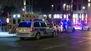 Police and paramedics rushed to St. Laurent and De Maisonneuve after an 18-year-old was stabbed on July 28, 2019 (CTV Montreal/Cosmo Santamaria)
