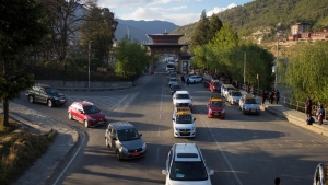 Traffic backed up on a road in Bhutan's capital Thimphu. (Upasana DAHAL / AFP)
