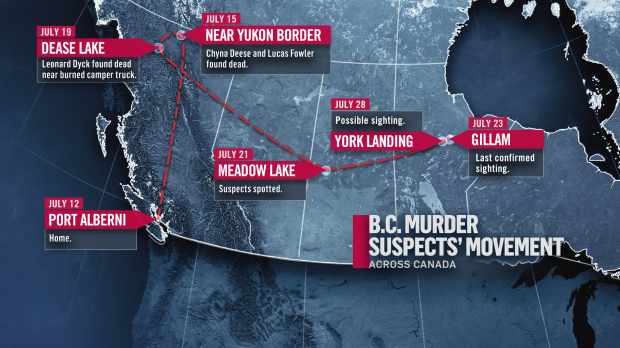 map of suspect sightings