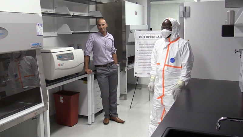 The inside of a Level Three bio-containment unit at Western University's new ImPaKT Lab in London, Ont. is seen on Monday, July 29, 2019. (Celine Moreau / CTV London)