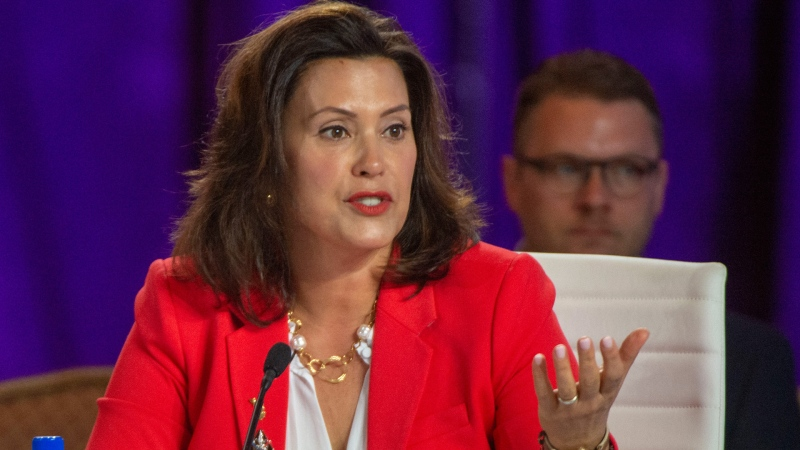 In this July 26, 2019, file photo, Michigan Gov. Gretchen Whitmer speaks during a session at the National Governor's Association conference in Salt Lake City. (Rick Egan/The Salt Lake Tribune via AP, File)