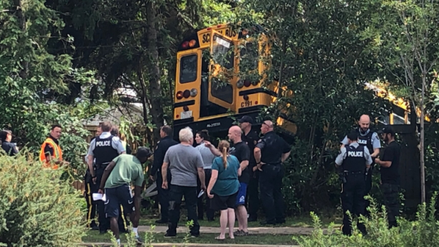 School bus crashes into st albert home 39 s backyard - West vancouver swimming pool schedule ...